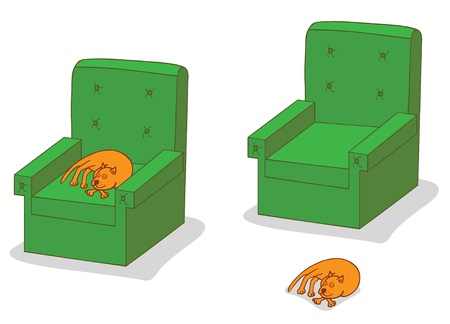 cat sleeping on sofa Vector