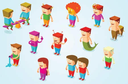 isometric horoscope people Vector