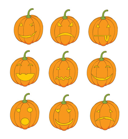 set of pumpkin emoticons Vector