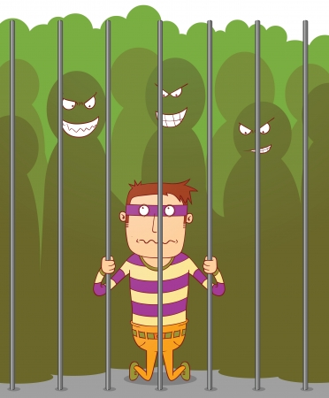 Bullying in a jail Vector