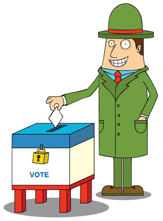 presidential election: man with hat voting Illustration