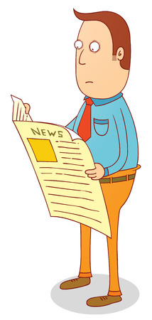 reading newspaper: Man standing and reading newspaper illustration  Illustration