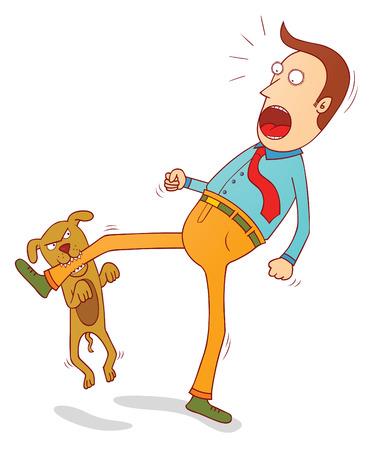 perro travieso mordiendo el pie