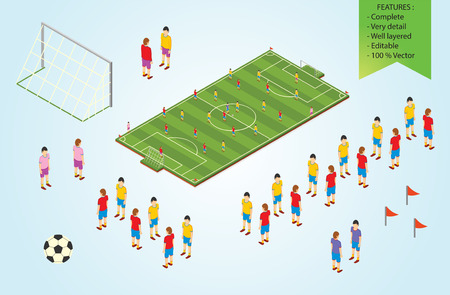 Isometric detail Football players in stadium Vector