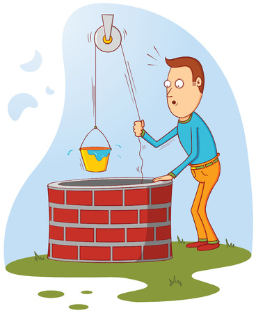 man at well