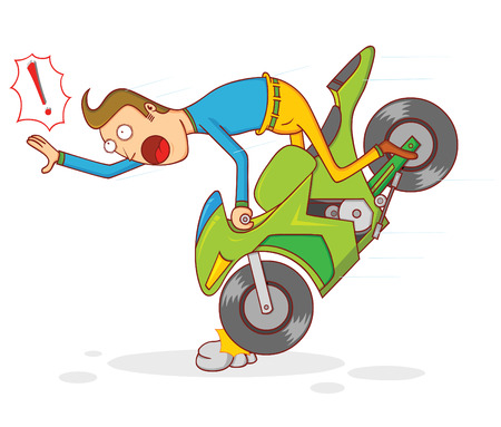 cartoon accident: motorcycle accident
