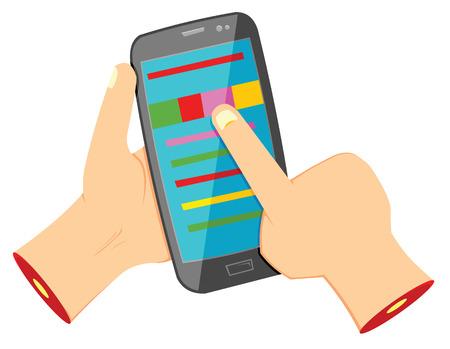 using smartphone: Hands using smartphone Illustration