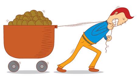 het trekken van een kar Stock Illustratie