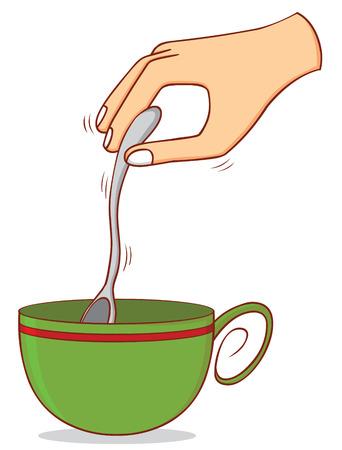 stirring: stirring coffee Illustration