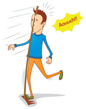 descuidado: homem descuidado e grande garfo