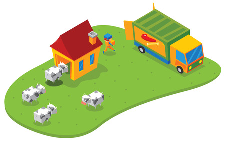 slaughtering: isometric slaughtering house Illustration