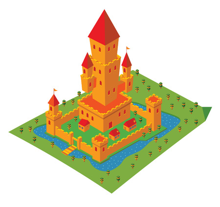 building bricks: isometric castle Illustration