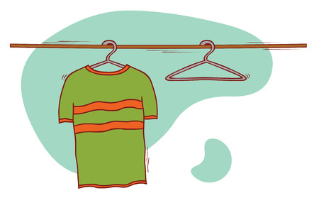 shirts on hangers: cloth and hangers
