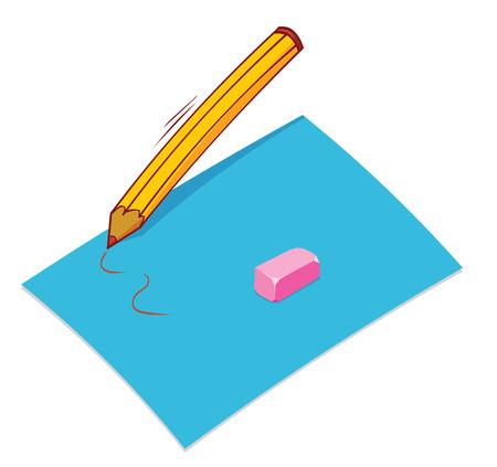 lapiz y papel: l�piz de papel borrador Vectores