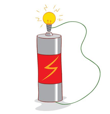 lampada: la batteria e la lampada Vettoriali