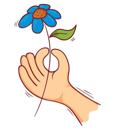 flower clip art: flower on hand