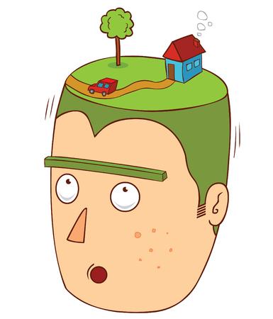 cartoon grass: house over my head Illustration