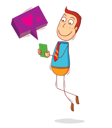 enamorados caricatura: amante de los mensajes de texto