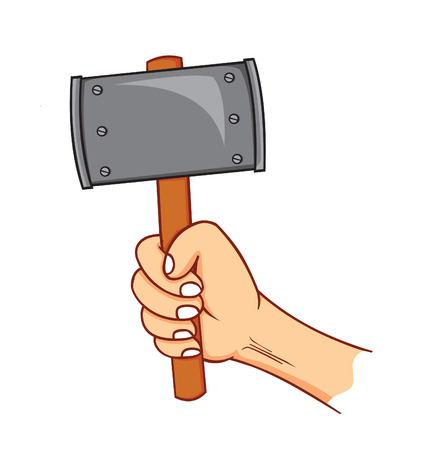 amputation: hand holding hammer