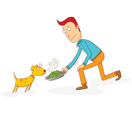 plato del buen comer: El hombre da de comer a un perro