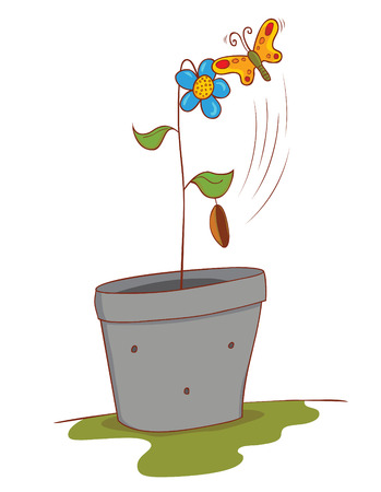 plant seed: flower and butterfly Illustration