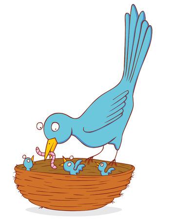 eat: bird and nestling Illustration