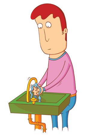 sink: man using sink Illustration
