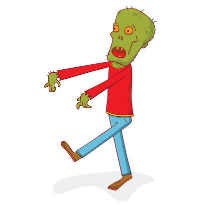A walking zombi on plain background.