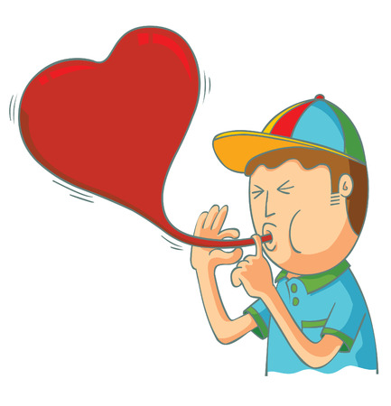 Kid blowing love balloon