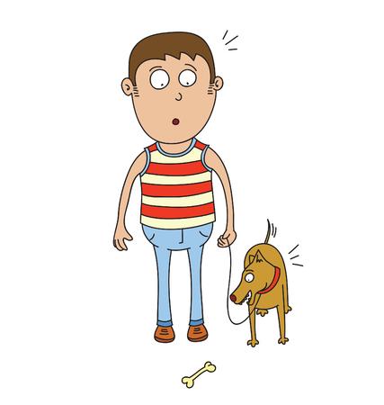 Man with pet dog illustration.