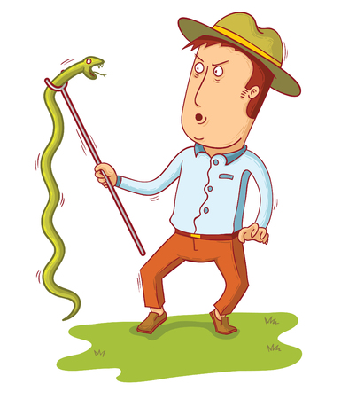 A man picking up a snake vector design