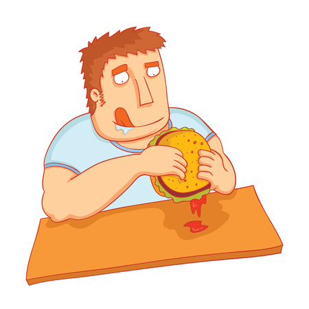 man eat big tasty burger Çizim
