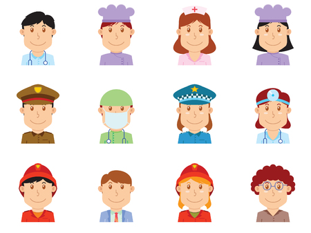 Set of people avatars on a white background