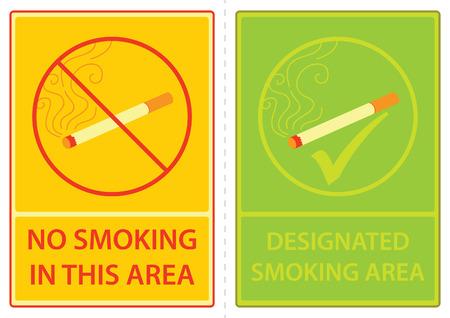 no smoking & designated smoking area sign