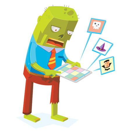 zombie online by using tablet computer Stock Vector - 117903286
