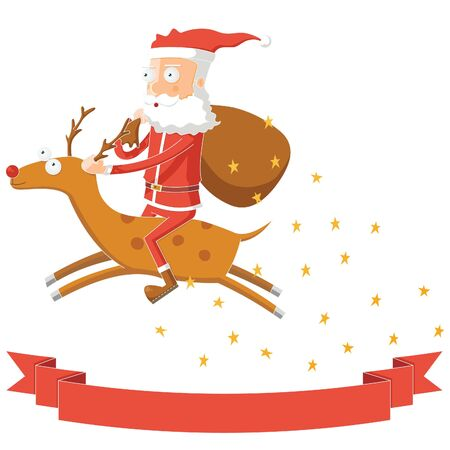 Santa Claus Flying by Riding his Deer