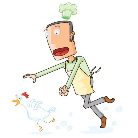 Chef Catching a running Chicken