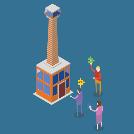 isometric people entering a tower building
