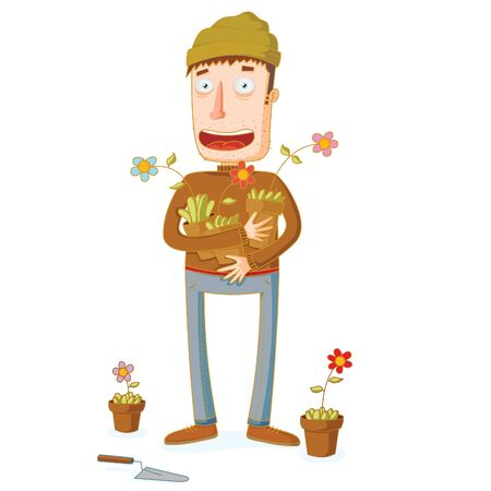 Gardener and some Flowers in Pots