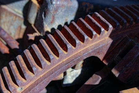 Teeth of ferrous ferruginous cog-wheel of old mechanism Stok Fotoğraf