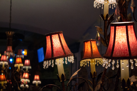Ceiling decorative metal chandeliers with lamps