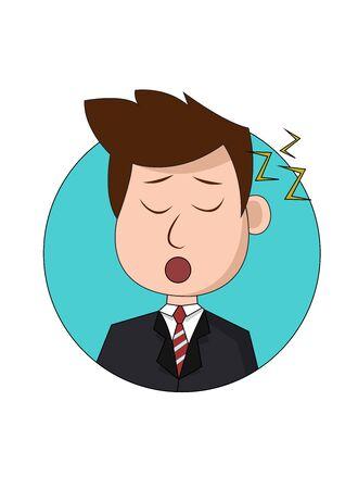 Sleepy Businessman Cartoon Character