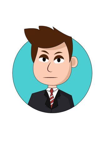 Solemn Businessman Cartoon Character
