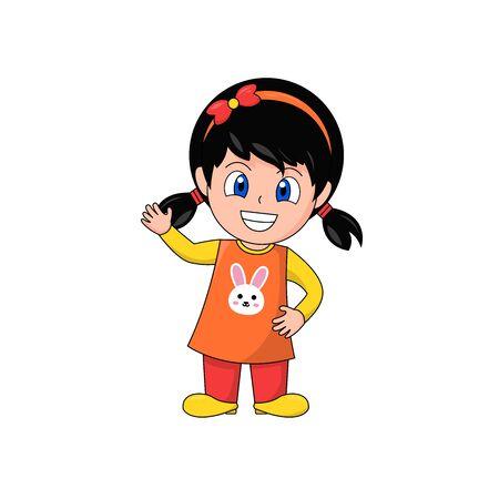 Smiley Girl Cartoon Character Waving