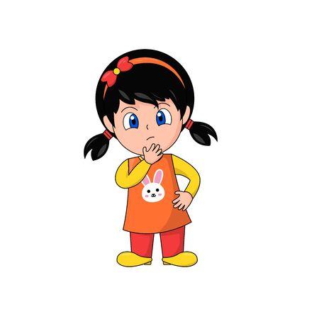 Girl Cartoon Character Contemplating