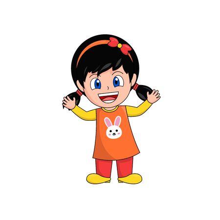 Happy Girl Cartoon Character Raising Arms