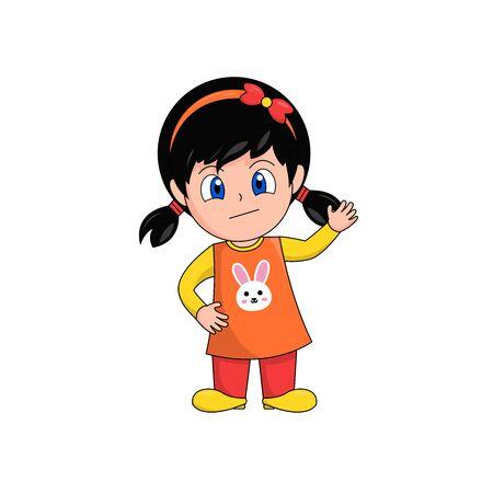 Cautious Girl Cartoon Character Waving