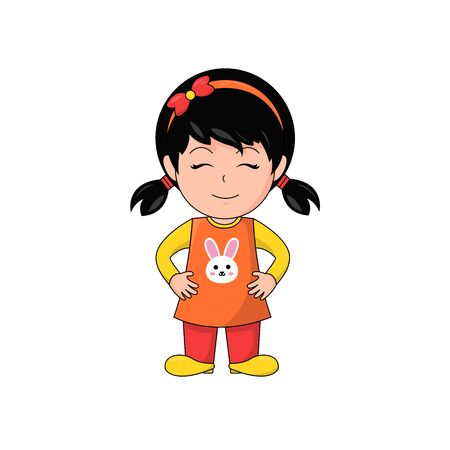 Content Girl Cartoon Character Smiling