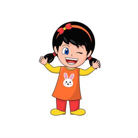 Girl Cartoon Character Waving and Winking