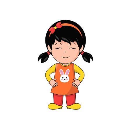 Smiley Girl Cartoon Character